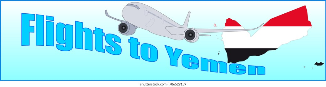 Banner with the inscription Flights to Yemen on a blue background