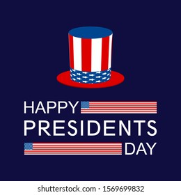 banner with the inscription happy presidents day with USA flags and Uncle Sam's hat on a dark blue background