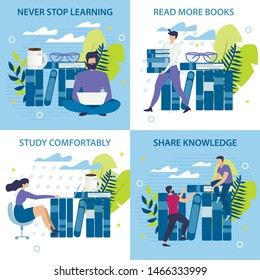 Banner Inscription Never Stop Learning Cartoon. Set Poster is Written Read more Books, Study Comfortably, Share Knowledge.  Guy is Sitting on Floor with Laptop on Background Books.