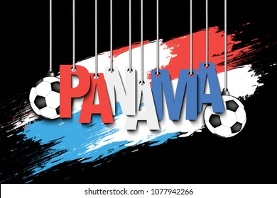 Banner the inscription Panama and ball hang on the ropes on the background of the Panama flag. Vector illustration