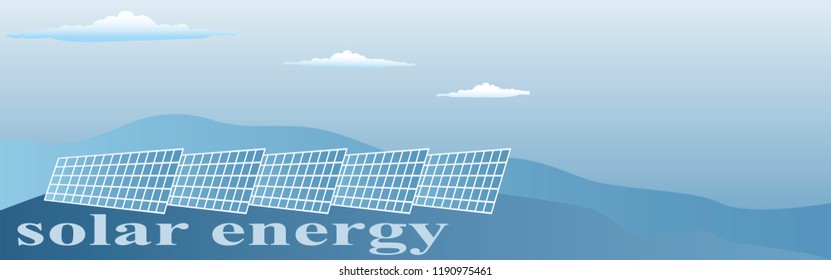 banner with the inscription solar energy in blue tones