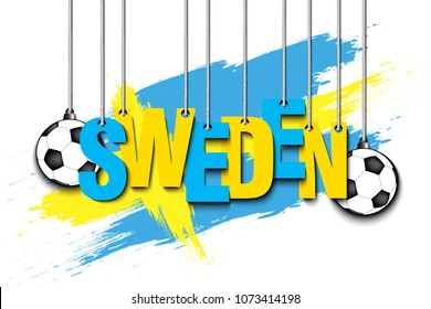 Banner the inscription Sweden and ball hang on the ropes on the background of the Costa Rica flag. Vector illustration
