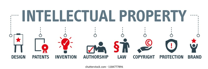 Banner Intellectual Property vector illustration concept with keywords and icons