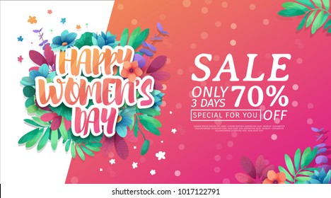 Banner for the International Happy Women's Day. Flyer for  sale March 8 with the decor of floral.  Design horiznotal Web offer with a pattern  flowers for advertising and discount. Vector.