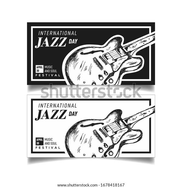 Banner International Jazz Day Design Guitar Stock Vector Royalty Free 1678418167
