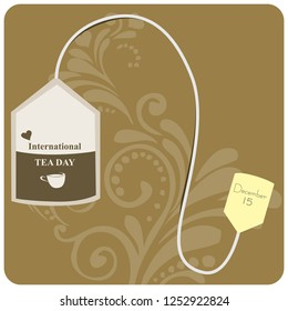 Banner to the International Tea Day. Tea bag.