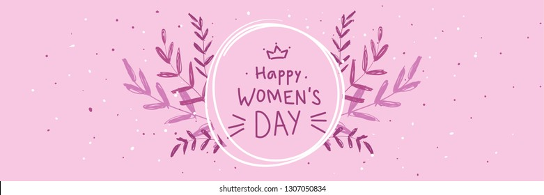 Banner for the International Women's Day, 8 March. Happy Mother's Day doodle. Pink White Floral and cute pink camera Greeting card. Happy Women's Day  Trendy Design Template holiday pink background.