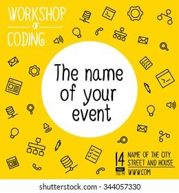 Banner invitation for hackathon, workshop. Vector banner of coding Hackathon. Vector ads banner for invitation on workshop. Vector ads banner for invitation on Hackathon. Workshop banner of coding
