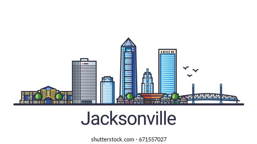 Banner of Jacksonville city in flat line trendy style. Jacksonville city line art. All buildings separated and customizable.