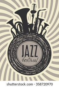 banner for jazz festival with wind instruments and vinyl record