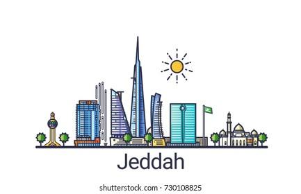 Banner der Stadt Jeddah in flachem Trendstil. Jeddah City Line Art. Alle Gebäude getrennt und individuell einstellbar.