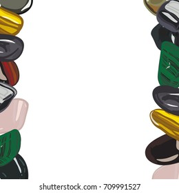 Banner with jewelry stones in cartoon style. For print, shop and creative design. Vector illustration. Isolated on white