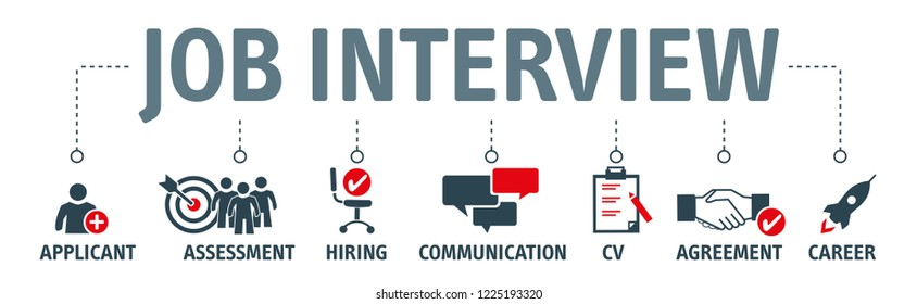 Banner job interview vector illustration concept with keywords and icons