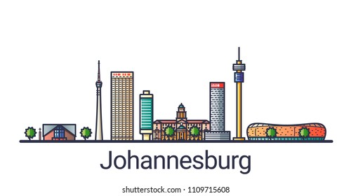 Banner of Johannesburg city in flat line style. Johannesburg city line art. All linear buildings separated and customizable.