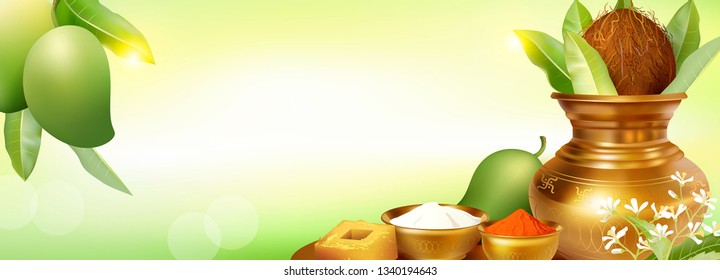 Banner with Kalash and mango fruits for Indian New Year festival Ugadi (Gudi Padwa). Template for sale offers, invitation, greetings with empty space for text. Vector illustration.
