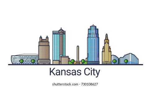 Banner of Kansas city in flat line trendy style. Kansas city line art. All buildings separated and customizable.