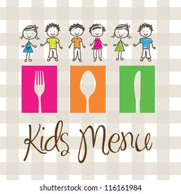 banner of Kids menu with cutlery and children
