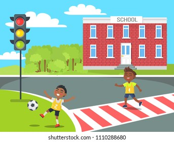 Banner of kids near school in cartoon style vector illustration of boy playing with ball in front of traffic lights and another child crossing road