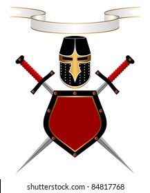 Banner, knightly helmet, shield and swords on a white background. A heraldic composition.