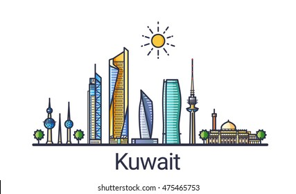 Banner of Kuwait city skyline in flat line trendy style. Kuwait city line art. All buildings separated and customizable.
