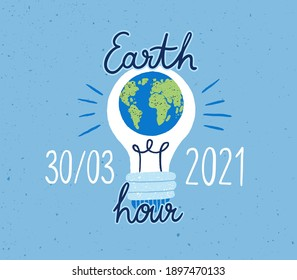Banner with lightbulb and Earth Hour inscription for 2021 Planet Day. Light bulb with globe for concept of saving electric energy. World eco day. Colored flat textured vector illustration