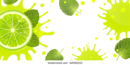 banner with lime and splash of juice and mint leaves