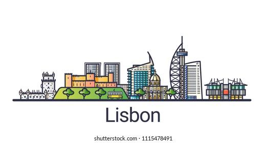 Banner of Lisbon city in flat line style. Lisbon city line art. All linear buildings separated and customizable.