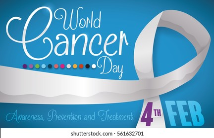 Banner with long white ribbon, reminder date of World Cancer Day and some representative colors of types of this disease.