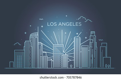 Banner of Los Angeles city in flat line trendy style.