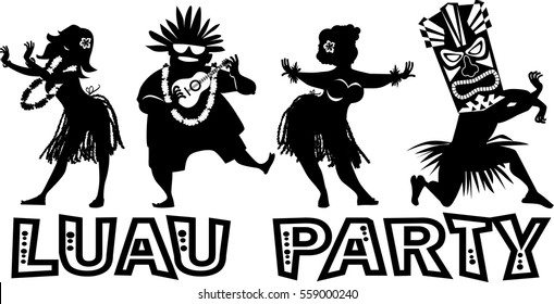 Banner for luau party with people dressed in traditional costumes, EPS 8 vector silhouette, no white objects