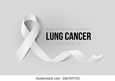 Banner with Lung Cancer Awareness Realistic White Ribbon. Design Template for Info-graphics or Websites Magazines on Gray Background