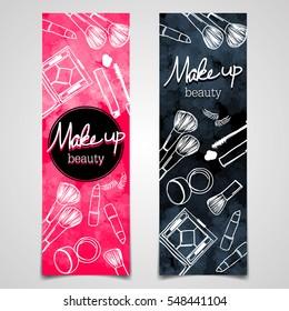 Banner Make Up Beauty / Black Background Vector / Make clipping mask
