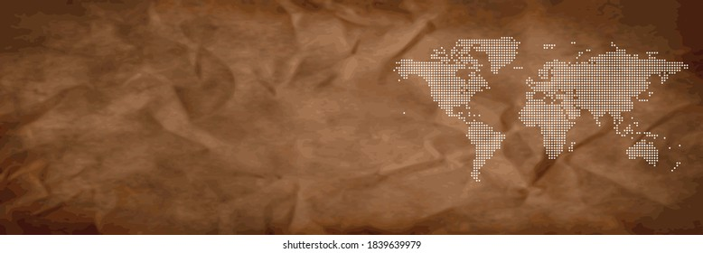 Banner map vintage vector, isolated on white background. Flat Earth, gray map template for web site pattern, anual report, inphographics. Globe similar worldmap icon. Travel worldwide