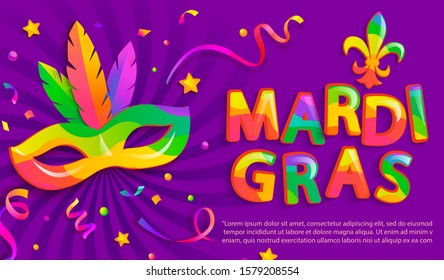 Banner for mardigras festive.Mask with feathers for Mardi gras carnival party.Traditional masque for carnaval,carnival, fesival,masquerade,parade.Template for design invitation,flyer, poster. Vector.