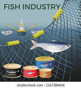 Banner for marine products with a fishing net. Vector illustration