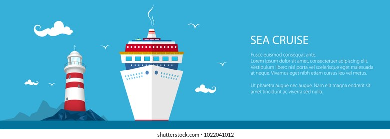 Banner of Marine Tourism, Cruise Ship and Lighthouse at the Ocean and Text ,Travel Concept, Vector Illustration