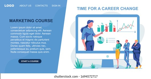 Banner Marketing Course, Time for a Career Change. On Screen, Girl In Shirt Presents Data On Graphical Chart. Company Managers Are Watching Course Record On Monitor. Vector Illustration.