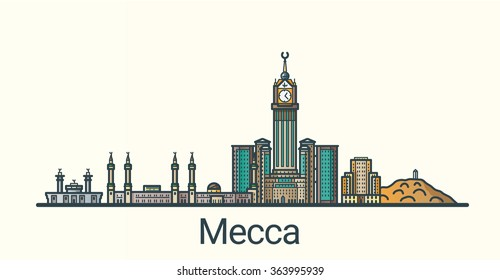 Banner of Mecca in flat line trendy style. All buildings separated and customizable. Line art.