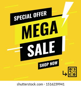 Banner Mega sale, Special Offer - Modern design- Vector -  illustration