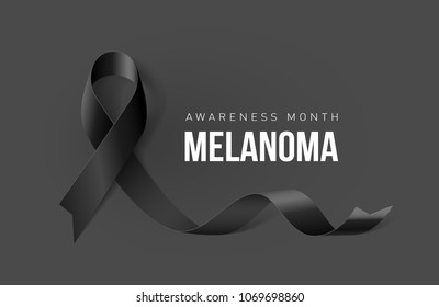 Banner with Melanoma Cancer Awareness Realistic Black Ribbon. Design Template for Info-graphics or Websites Magazines on Dark Background