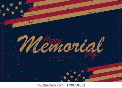 "Banner Memorial Day. Vector illustration with lettering ""Remember and Honor"" and USA flag on blue background with retro texture."