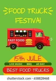 Banner or menu for food truck festival. Vector poster