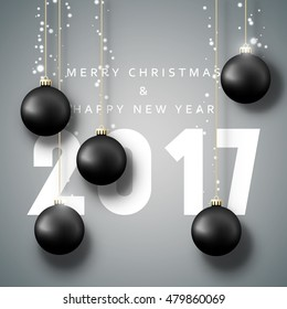 Banner Merry Christmas 2017. Happy new year 2017 card. Christmas poster with balls. Greeting card design vector illustration