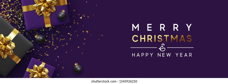 Banner Merry Christmas and Happy New Year. Realistic gift boxes, Shiny golden confetti. Festive background Greeting card poster. web heading. Xmas present. flat lay, top view. Vector illustration