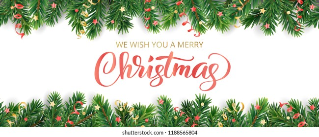 Banner with Merry Christmas text. Seamless vector decoration on white. Christmas illustration, winter holiday background. Christmas tree frame, garland. Border for party poster, header