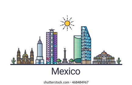 Banner of Mexico city skyline in flat line trendy style. Mexico city line art. All buildings separated and customizable.