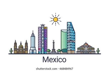 Banner der mexikanischen Stadt Skyline in flacher Linie trendy Stil. Mexiko City Line Kunst. Alle Gebäude getrennt und anpassbar.