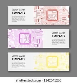 Banner microcircuit. Modern template processor design. Vector abstract design web banner microcircuit. Web Header elements. Abstract web banner template microcircuit. Collection web banner processor