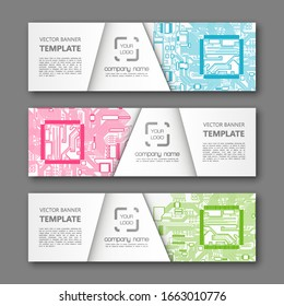 Banner microcircuit. Modern template processor design. Vector abstract design web banner microcircuit. Web Header elements. Abstract web banner template microcircuit. Collection web banner processor