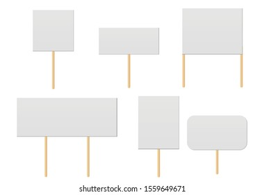 Banner mock up on wood stick collection. Protest placards, public transparency with wooden holders. Politic strike boards realistic vector holding public broadsheet template